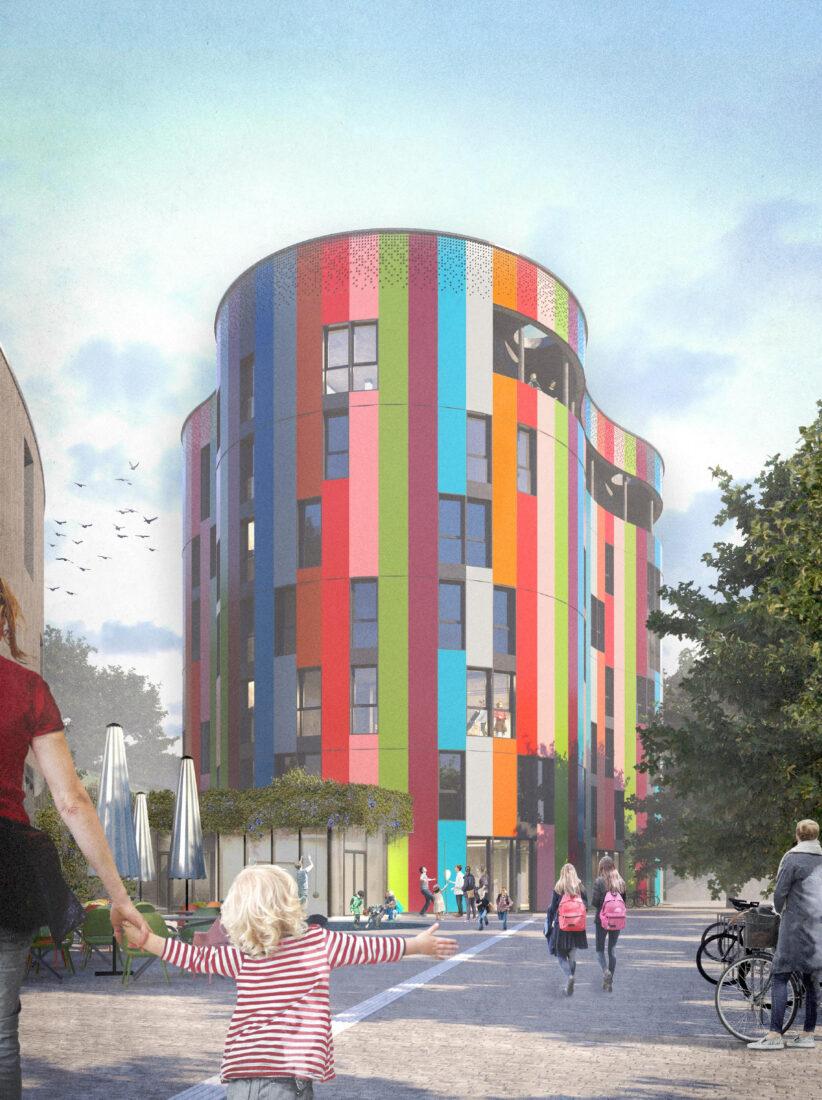 So wird die Junior Uni Daun aussehen. Die Illustration zeigt das siebenstöckige Hauptgebäude, in welchem die jungen Forscherinnen und Forscher bald mit Spaß am Experimentieren ihr Wissen erweitern können (Illustration: GNA Architekten, Wuppertal)